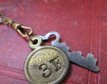 SALE Room Number 3...Vintage Assemblage Key Necklace
