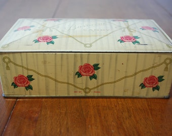 Vintage Barricini Candy Tin - 1950's -Pale Yellow with Pink Roses -  Cottage Chic - Edwardian - Victorian