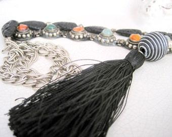 Unique long black silk tassel necklace with vintage stones element and black lava rock teardrop beads