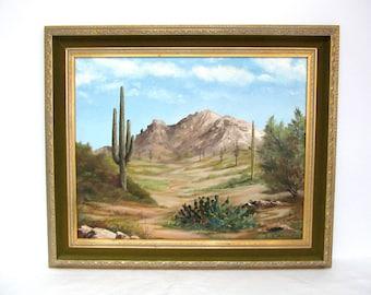 Vintage Desert Landscape Oil Painting, Saquaro Cactus, Southwestern Framed Art