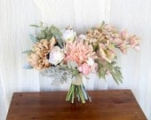 Faux Bouquet Silk Flowers | Blush Pink and Beige Earthtones | Lush and Wild Wedding Bouquet | SG-1021