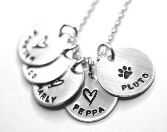 Custom Hand Stamped - Gift for Her - Mothers Necklace - Personalized Children Names Necklace