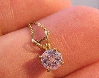 SALE Now On Ends 4/3/17 14k YG 1/2ct Pink Cubic Zirconia CZ Pendant & Chain Necklace Vintage Estate Jewelry Jewellery
