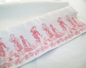 SALE - Vintage French Damask Linen dresser scarf, decor