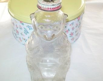 SALE - 1940s Snow Crest Bear Bank, glass, Snow Crest Bank Bottle