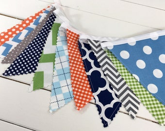 Bunting Banner Flags, Photography Prop, Nursery Decor, Birthday Decoration - Green, Grey, Navy Blue, Orange, Light Blue, Gray, Chevron, Dots