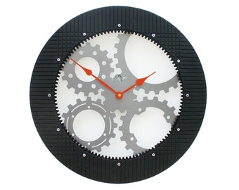 Gear III, Large Wall Clock, Unique Wall Clock, Modern Wall Clock, Steampunk, Industrial Decor, Metal Art, Big, Giant, Laser Cut, Caterpillar