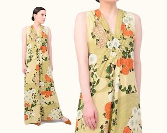 Vintage 70s Floral Maxi Dress 1970s Romantic Nouveau Print Sleeveless Boho Hippie Sundress - Tan Orange Ivory Medium M