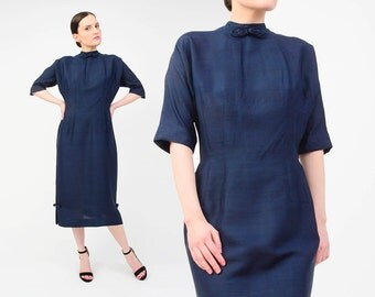 Vintage 50s Navy Silk Dress - Asian Oriental Inspired Dress - 1950s Tailored Wiggle Dress Midi Cocktail Dress - Frog Closures Medium M