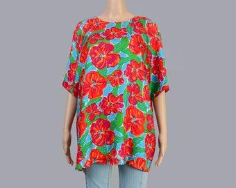 Vintage 90s Silk Blouse | Vibrant Floral Blouse | Pop Art Graphic | Short Sleeve Oversize Top | Blue Magenta Orange | fits size M L XL