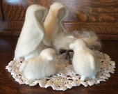 RESERVED FOR MARGARET Five Piece Nativity Set Needle Felt Wool Christmas Display