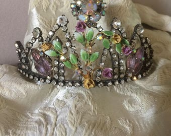 Vintage Rhinestone Tiara Embellished with Vintage Jewelry, Flowers