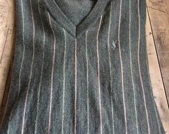 Vintage YVES SAINT LAURENT V-Neck Striped Sweater