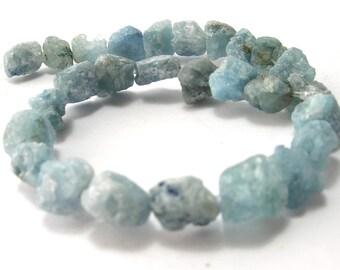 Natural Aquamarine Rough Nugget Beads (4-7mm - 4-10mm) - Gemstones