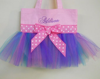 Dance Bag, ballet bag, Pink Tote Bag with Pink, Purple and Teal Tulle, dance bags,  Naptime 21, MINI Embroidered Tutu Tote Bag - MTB140 E