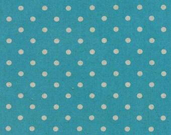 Linen MOCHI DOT in Turquoise .. Moda Fabric .. cotton/linen blend 32910 11
