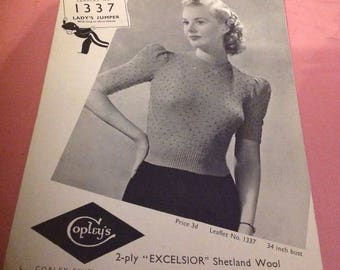 Vintage 1940's Knitted Womens Top, Vintage Knitting Pattern,2Ply Knitting Wool Pattern