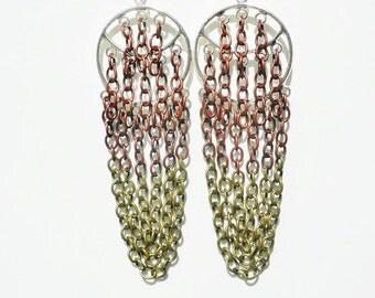 Ombre Chain Chandelier Earrings - Copper - Bronze