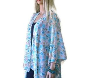 Mint and Apricot-Kimono Ruana with Spring floral-Oversize kimono -Soft colors-Beach Pareo-oversize chiffon kimono-Ruana