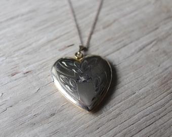 Vintage Heart Locket, 12K Gold Filled, Vintage Gold Heart Locket, Original 12k Gold Filled Chain