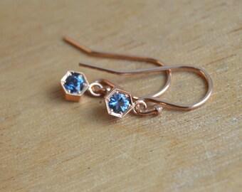 Spinel Earrings, August Birthstone Earrings, Rose Gold Earrings, Blue Gemstone Dangly Earrings, Rose Gold Dangly Earrings, Tanzanian Spinel