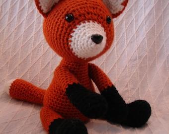Crocheted Amigurumi Fox, handmade toy **Free shipping**