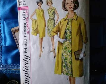 1960s Simplicity 5373 Misses one piece dress and coat size 12 bust 32