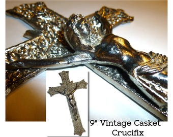 Vintage Casket Crucifix Cross made by Gallo Co. NY. White Silver Metal Cross. Jesus Christ . Roman Catholic Religious Cross Comfort at Death