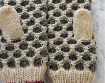 Wool Hand-knitted Traditional Newfoundland Style Teen Adult Mittens ~ Newfie  mittens
