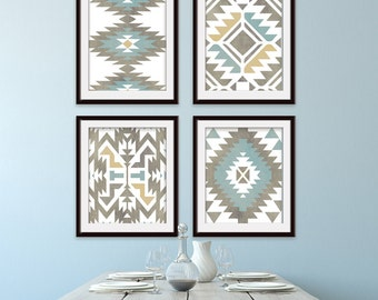 Navajo Indian inspired Geometric Patterns (Series C4) Set of 4 Art Prints (Featured in Distressed Tans, Blues, Mustard) Modern Western Art