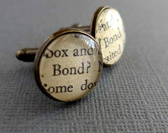 James Bond Cufflinks, Husband Gift, Book Page Cufflinks, James Bond Novel Cuff Links