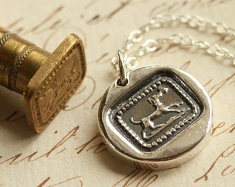 Dog Carrying Letter Victorian Wax Seal Necklace - Fine Silver, Sterling Silver