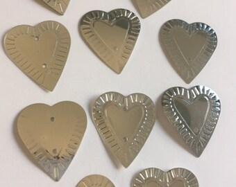 New Sequins - Metallic Silver  Hearts