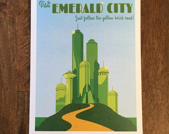 Emerald City from Wizard of Oz Retro Travel Poster print 9x12, 12x18 vintage style