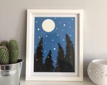 Moonlight Forest - Original papercut art