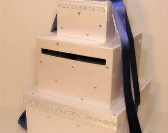 Wedding Card Box White and Royal Blue Gift Card Box Money Box Holder--Customize your color