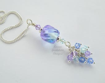 Two tone lampwork necklace, blue and lilac pendant, waterfall necklace, crystal cluster necklace, sterling silver necklace, lampwork pendant