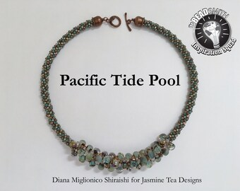 Pacific Tide Pool Necklace, Aquamarine, Copper, Rose Gold and Boro Beads, 23 Inch Statement Necklace, Textured Kumihimo Necklace