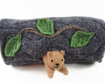 Hollow Log Animal Home, waldorf toy, all natural toy, eco friendly toy, stuffed toy, stuffed animal