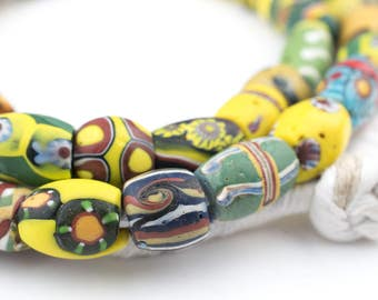 Oval Antique Venetian African Millefiori Trade Beads: Old Big Glass Ghanaian Rustic Ethnic Handmade Boho Shaped Large (UNQ-MILLE-2289)