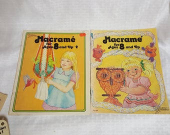 Macrame for Ages 8 & Up Instruction Book - Set of 2 from 1970's