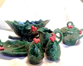 Holly Christmas Serving Set, Holly Berry Sleigh, cream and sugar, salt, pepper and dish.