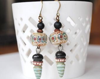 Green Earrings, Lampwork Glass Bead Earrings, Ceramic Earrings, Unique Artisan Earrings, Brown Earrings, Neutral Earrings, Boho Chic Earring