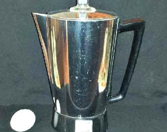 Vintage Presto Submersible Electric Coffee Percolator / 1958 Presto Automatic Coffee Maker / Presto PK 10A Chrome & Glass Coffee Pot