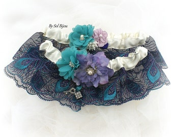 Wedding Garter Set, Peacock Garter, Ivory, Purple, Teal, Bridal Garter, Garter Belt, Toss Garter, Lace Garter, Vintage Wedding, Elegant