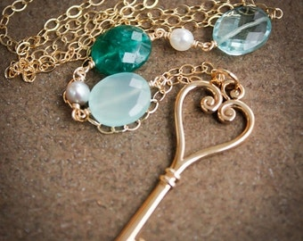 CHRISTMAS SALE Gold Skeleton Key Necklace - Green Emerald Quartz, Chalcedony, Aqua Quartz - Long Necklace