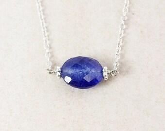 CHRISTMAS SALE Blue Sapphire Quartz Necklace - 925 Sterling Silver