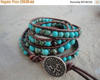 25% OFF SALE Macavo Turquoise Beaded Natural Leather Wrap Bracelet