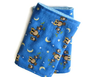 Burp Cloths, Absorbent Flannel and Terry Cloth, Set of 2, Blue Owl Print, Boy Baby Shower Gift