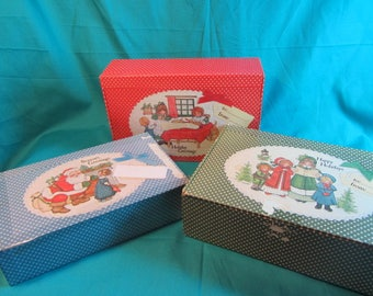 General Box Co Vintage Holiday Box Set, Season Greetings Box Set, Vintage Box Set, Nexting Set Of Boxes for The Holiday Featuring Christmas
